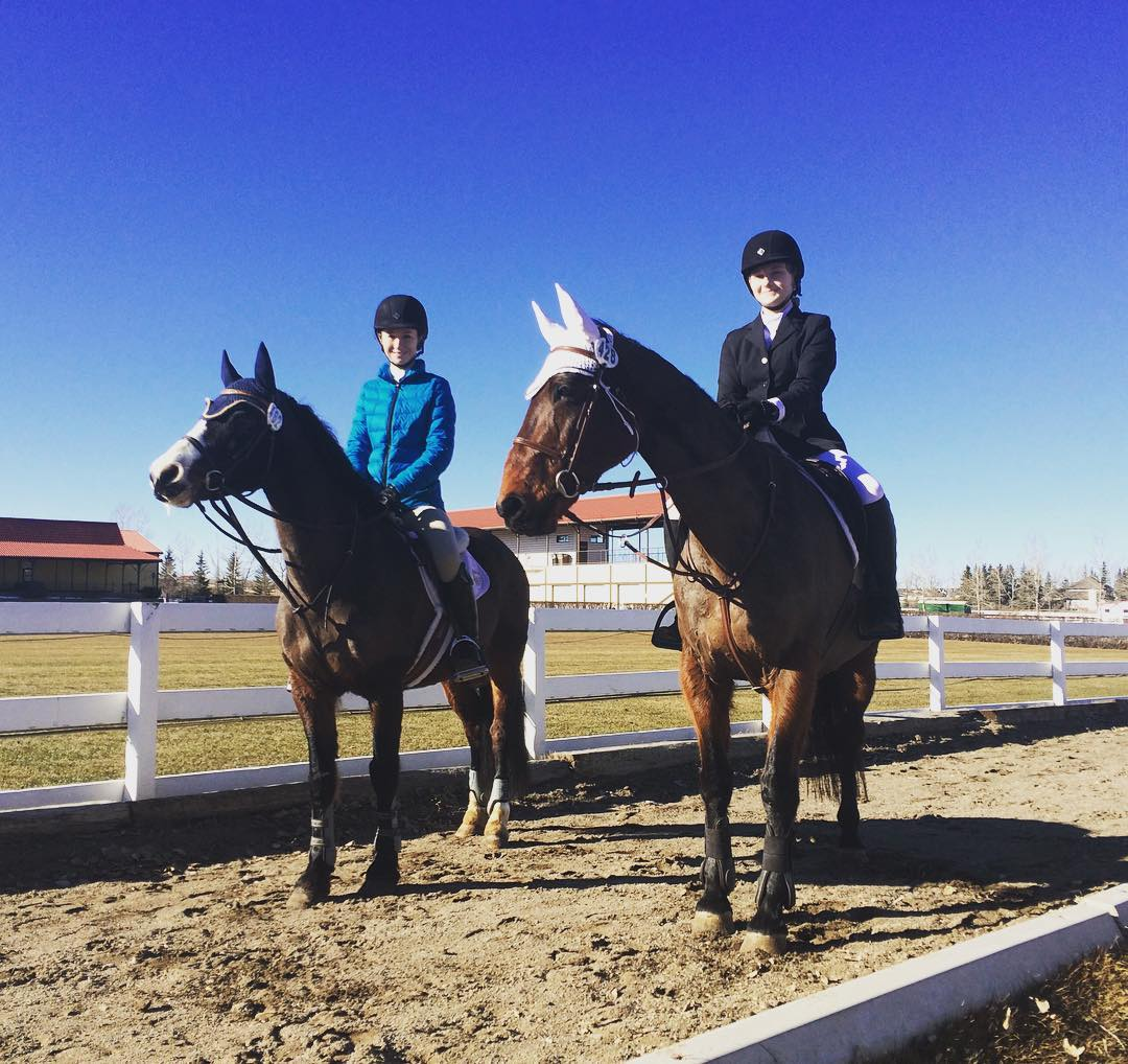 Abby and Faith in Spruce Meadows .. Brittany and Whisky Bay as well